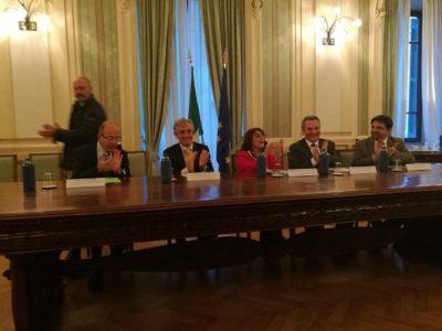 Da sinistra: Luca M. Negro, Luigi M. Vignali, Gerarda Pantalone, Marco Impagliazzo, Luca Anziani